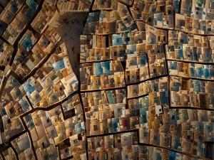 Vista aérea de las viviendas de una ciudad