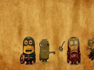 Minions convertidos en superhéroes (Capitán América, Iron Man, Hulk y Thor)