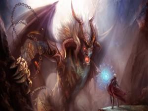 Enfrentándose a un gran demonio
