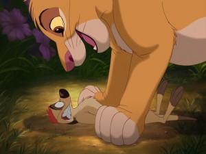 Simba con ganas de comerse a Timón (El Rey León)