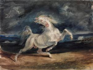 Cuadro de Eugène Delacroix (Horse Frightened by a Storm, 1824)