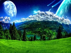 Planeta verde en un universo azul