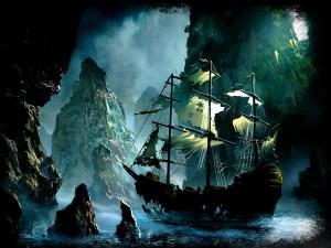 Barco fantasma entre grandes rocas