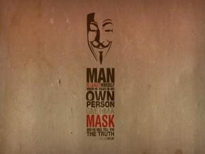 La máscara de Anonymous sobre una frase de Oscar Wilde