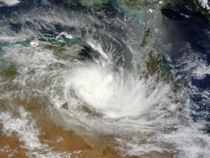 Vista satélite de una tormenta sobre Australia