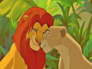 Simba y Nala enamorados (El Rey León)