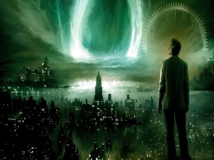 Hombre contemplando una ciudad futurista