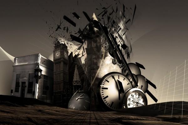Varios relojes reposados sobre unos edificios en destrucción