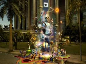 Varias figuras rodeando a un chico que disfruta de la música