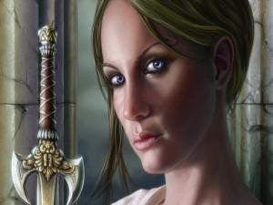 Mujer con una afilada espada medieval