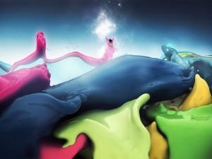 Hada en un mar de varios colores