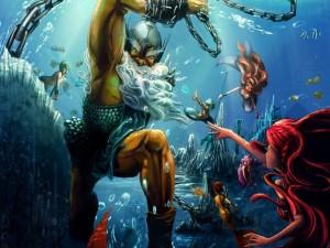 Sirenas combatiendo contra un invasor