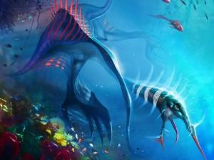 Extraños seres marinos nadando en el fondo del océano