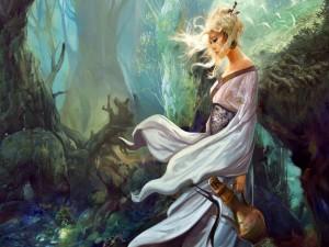 Una dama caminando entre las sombras de un bosque