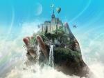 Imponente castillo en la palma de una mano