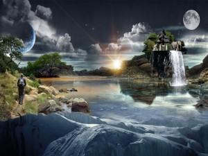 Elefante sobre una isla en un paisaje de fantasía