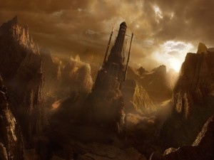 Castillo futurista en la cima de una montaña