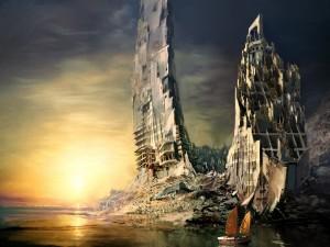 Ciudad en ruinas a la orilla del mar