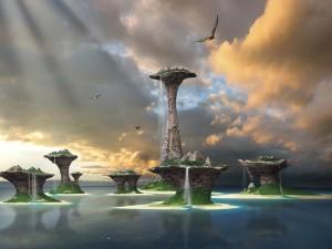 Cascadas en unas islas de piedra sobre el mar