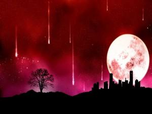 Meteoritos cayendo sobre una ciudad iluminada por la luna llena