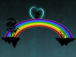 Pareja sobre un arcoíris entre dos islas suspendidas en el cielo