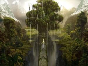 Cascadas  emergiendo de las ramas de un árbol fantástico