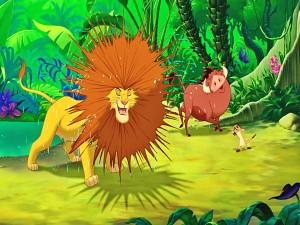 """Simba y sus amigos divirtiéndose en la selva """"El Rey León"""""""