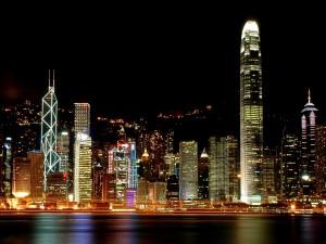 Luces en los edificios de Hong Kong