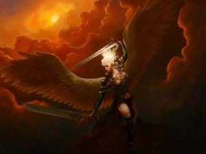 Ángel con dos espadas