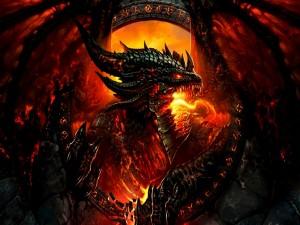 Dragón escupiendo fuego