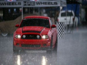 Lluvia sobre un Mustang