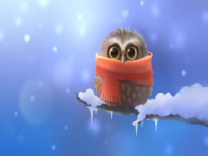 Un búho con bufanda en invierno