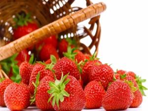 Fresas junto a una cesta