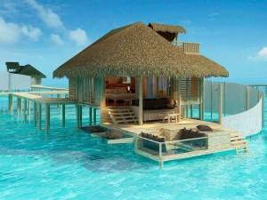 Un bungalow sobre el mar