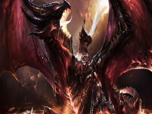 Guerrero matando a un gran dragón