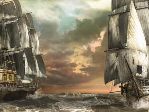 Dos navíos en el mar