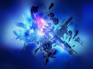 Piezas flotando en un fondo azul con destellos de luz