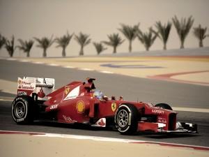 Fernando Alonso pilotando un Ferrari en Abu Dhabi