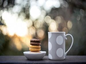 Macarons junto a una taza