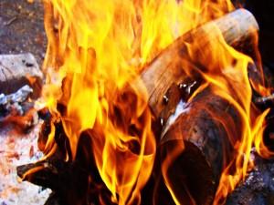 Troncos de madera ardiendo