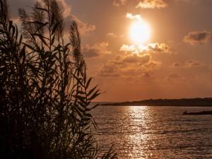 El reflejo del sol en el mar antes del atardecer (Chipre)