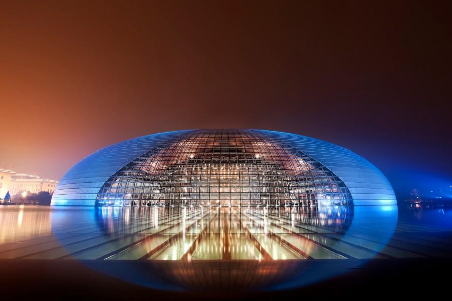 Luces en el Gran Teatro Nacional de China (Pekín)