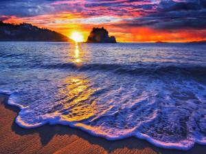 Un bonito amanecer en la playa