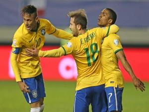"""Neymar junto a sus compañeros brasileños en la """"Copa América Chile 2015"""""""