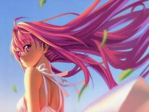 Chica anime con el pelo rosa agitado por el viento