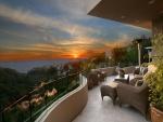 Hermoso amanecer visto desde una terraza