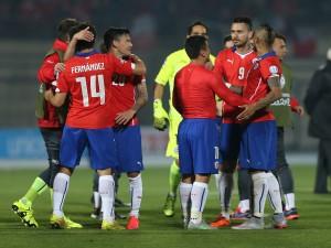 """Jugadores de la Roja (Chile) en el partido contra Uruguay """"Copa América Chile 2015"""""""
