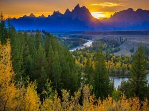 Despertar del sol en el Parque Nacional Grand Teton