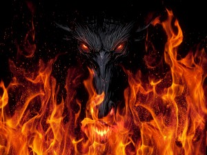 Dragón junto al fuego