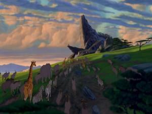 """Animales caminando hacia la roca del Rey """"El Rey León"""""""